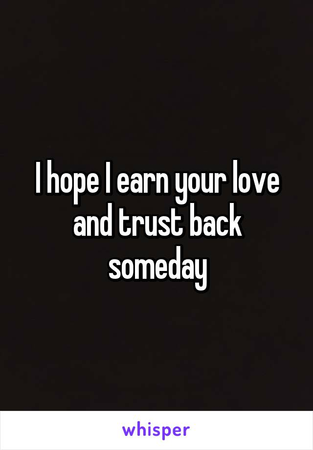 I hope I earn your love and trust back someday