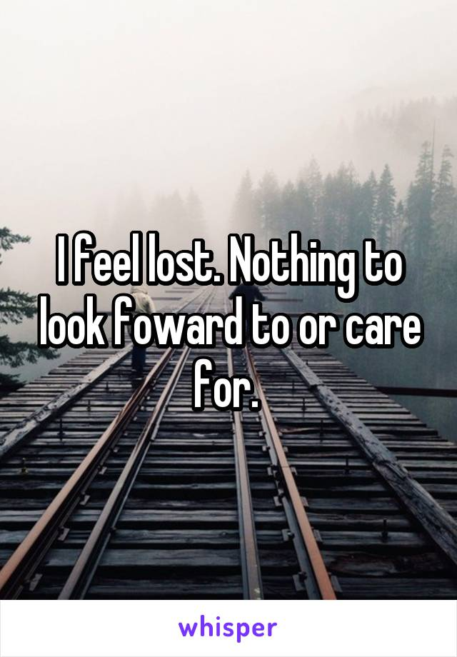 I feel lost. Nothing to look foward to or care for.