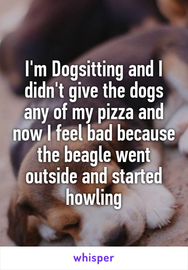 I'm Dogsitting and I didn't give the dogs any of my pizza and now I feel bad because the beagle went outside and started howling
