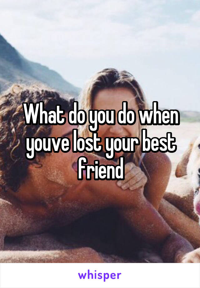 What do you do when youve lost your best friend