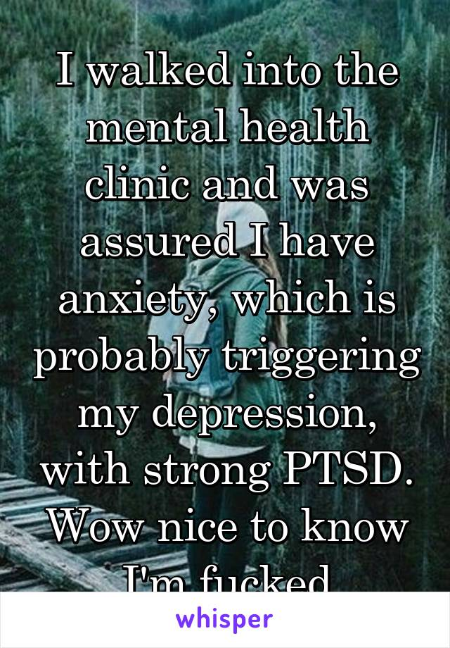 I walked into the mental health clinic and was assured I have anxiety, which is probably triggering my depression, with strong PTSD. Wow nice to know I'm fucked