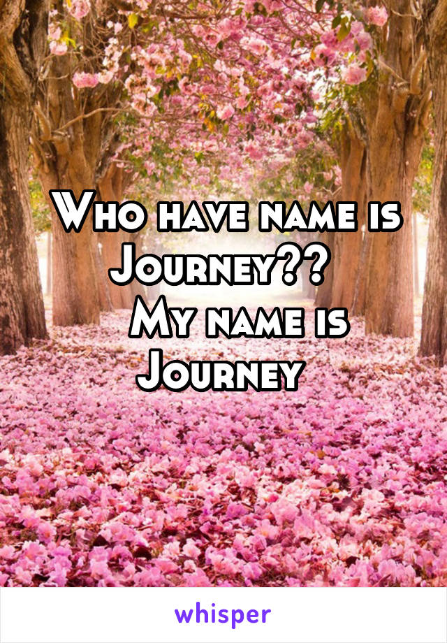 Who have name is Journey??    My name is Journey