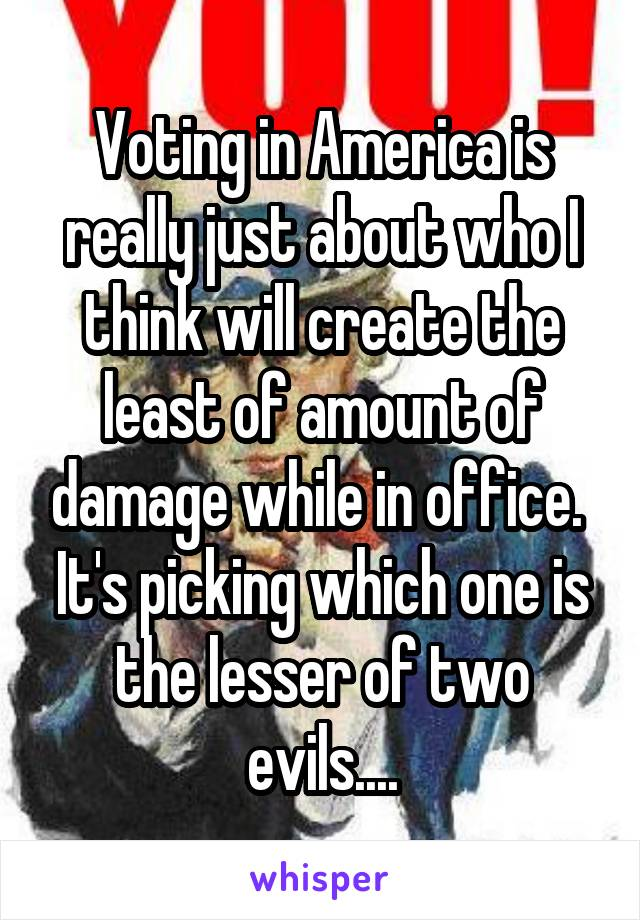 Voting in America is really just about who I think will create the least of amount of damage while in office.  It's picking which one is the lesser of two evils....