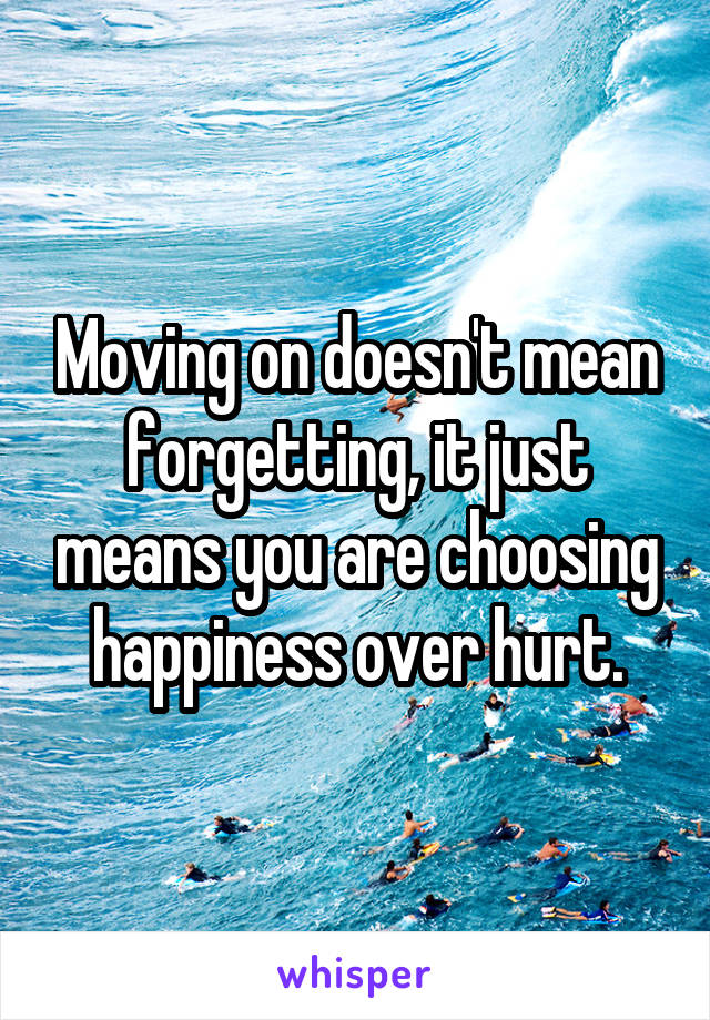 Moving on doesn't mean forgetting, it just means you are choosing happiness over hurt.