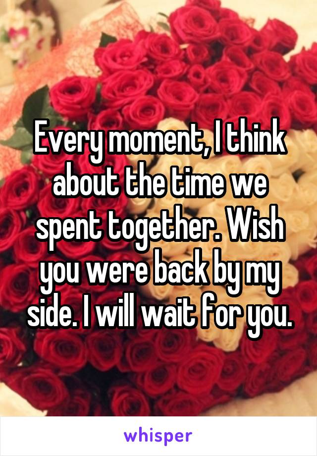 Every moment, I think about the time we spent together. Wish you were back by my side. I will wait for you.