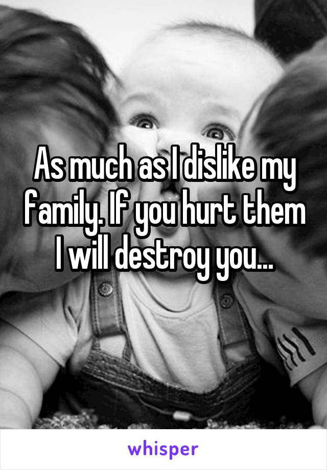 As much as I dislike my family. If you hurt them I will destroy you...