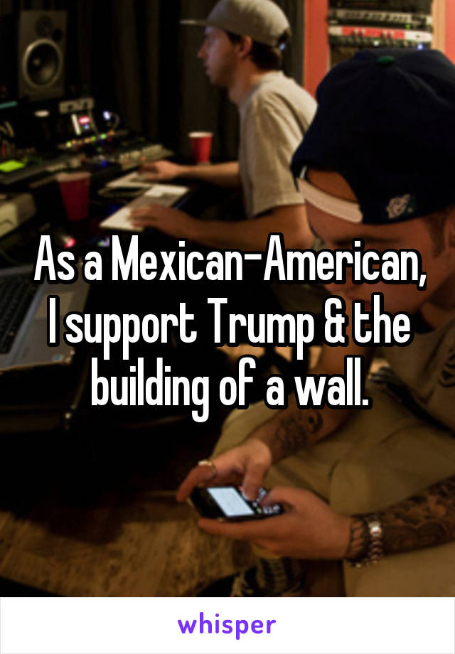 As a Mexican-American, I support Trump & the building of a wall.
