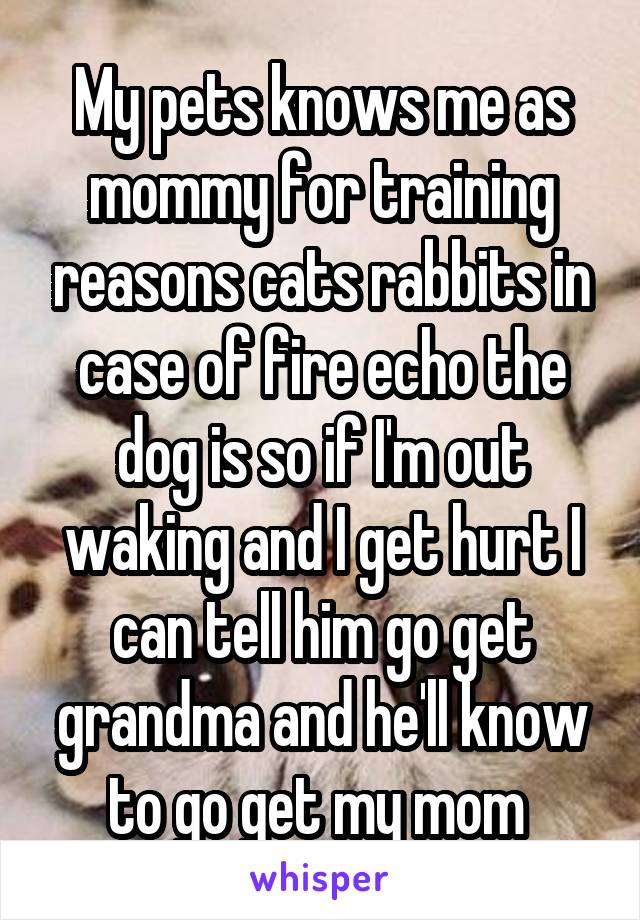 My pets knows me as mommy for training reasons cats rabbits in case of fire echo the dog is so if I'm out waking and I get hurt I can tell him go get grandma and he'll know to go get my mom