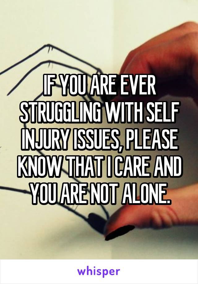 IF YOU ARE EVER STRUGGLING WITH SELF INJURY ISSUES, PLEASE KNOW THAT I CARE AND YOU ARE NOT ALONE.