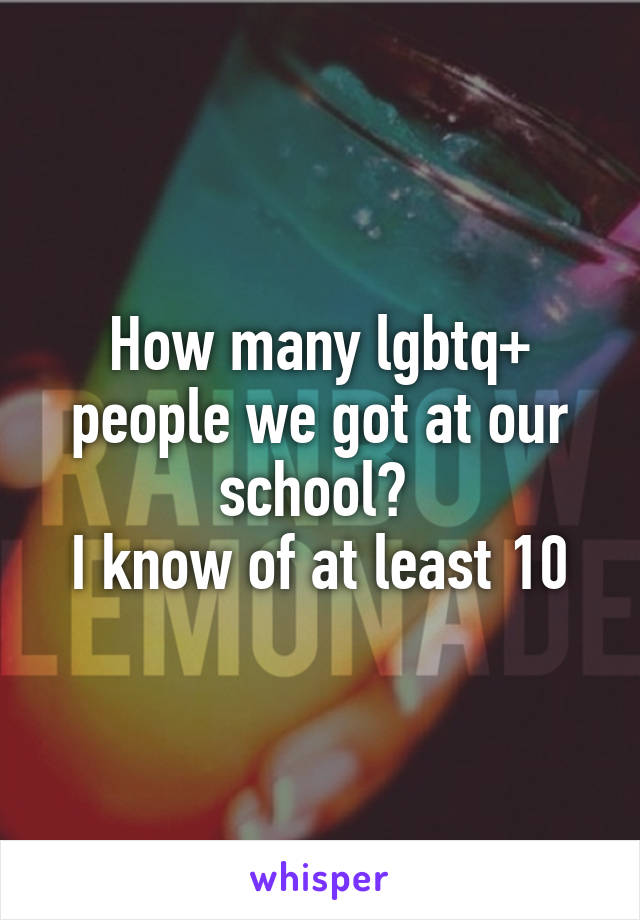 How many lgbtq+ people we got at our school?  I know of at least 10