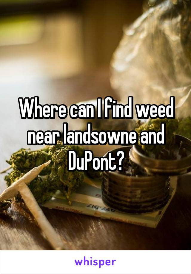 Where can I find weed near landsowne and DuPont?