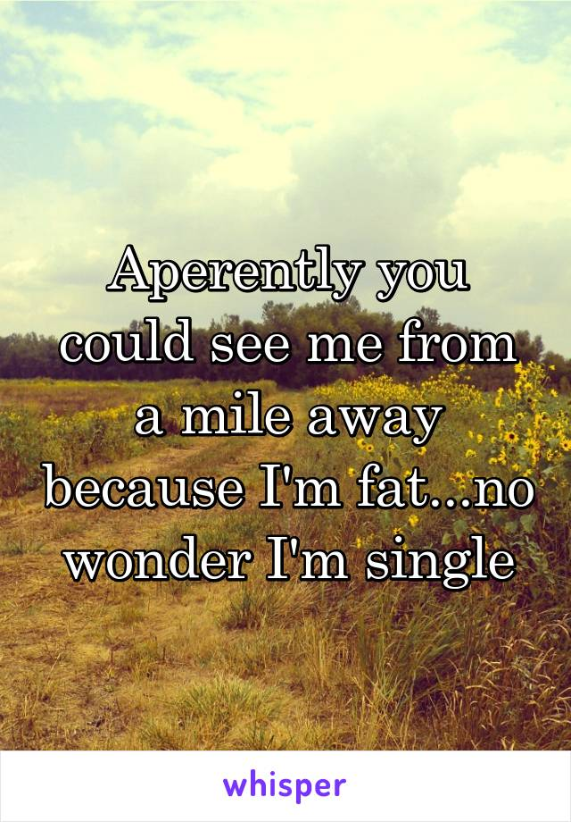 Aperently you could see me from a mile away because I'm fat...no wonder I'm single