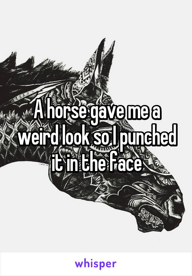A horse gave me a weird look so I punched it in the face
