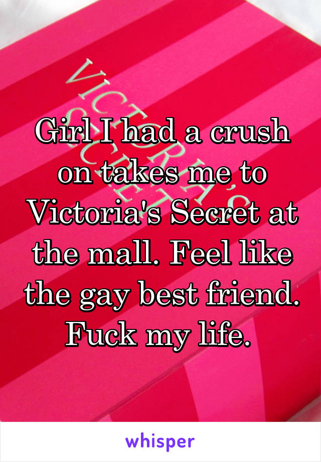 Girl I had a crush on takes me to Victoria's Secret at the mall. Feel like the gay best friend. Fuck my life.