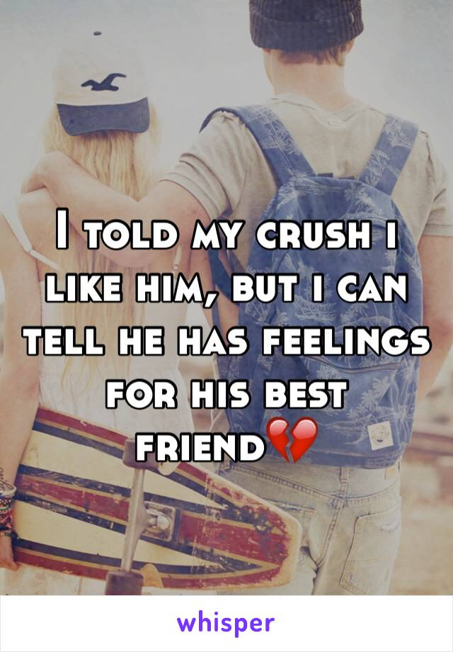 I told my crush i like him, but i can tell he has feelings for his best friend💔