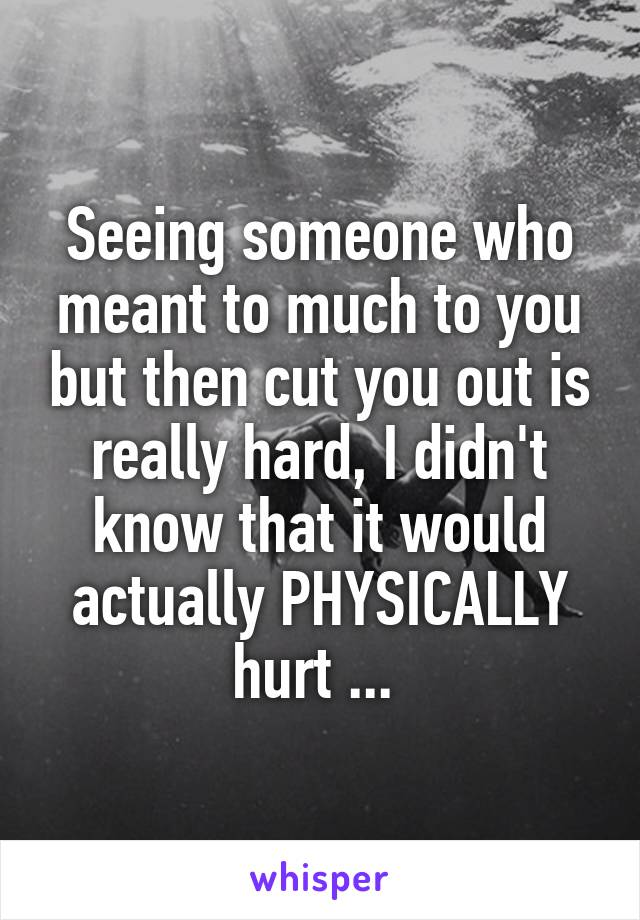 Seeing someone who meant to much to you but then cut you out is really hard, I didn't know that it would actually PHYSICALLY hurt ...