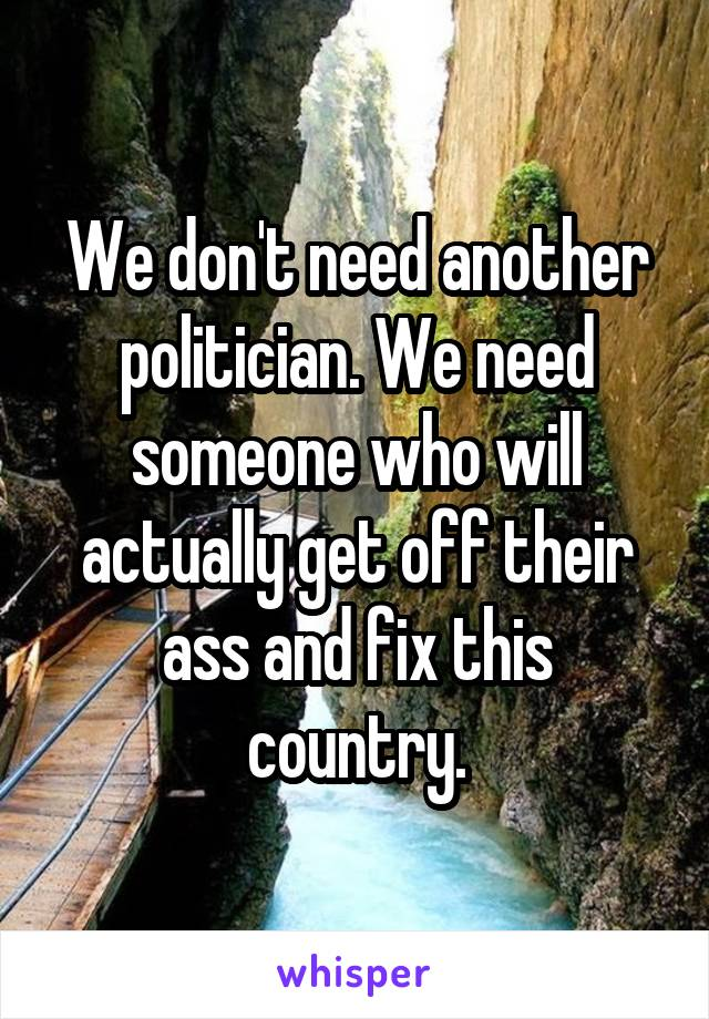 We don't need another politician. We need someone who will actually get off their ass and fix this country.
