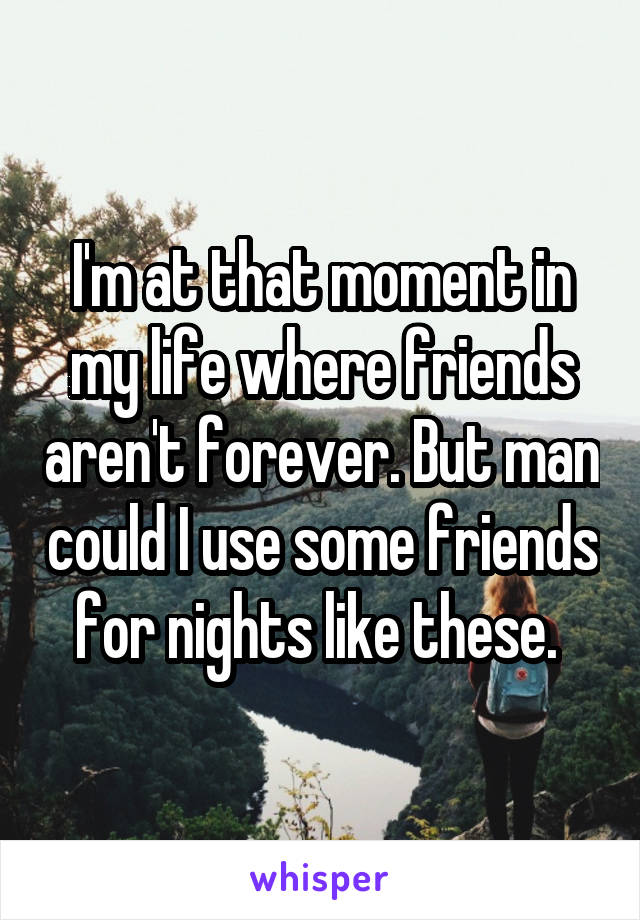 I'm at that moment in my life where friends aren't forever. But man could I use some friends for nights like these.