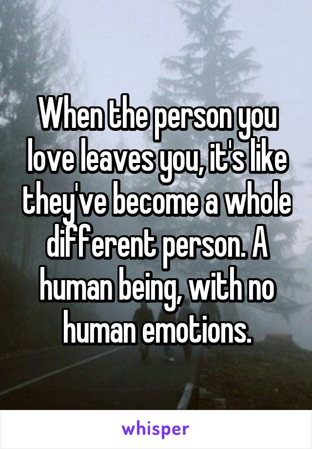 When the person you love leaves you, it's like they've become a whole different person. A human being, with no human emotions.