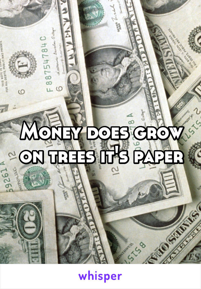 Money does grow on trees it's paper