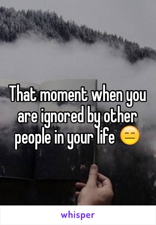 That moment when you are ignored by other people in your life 😑