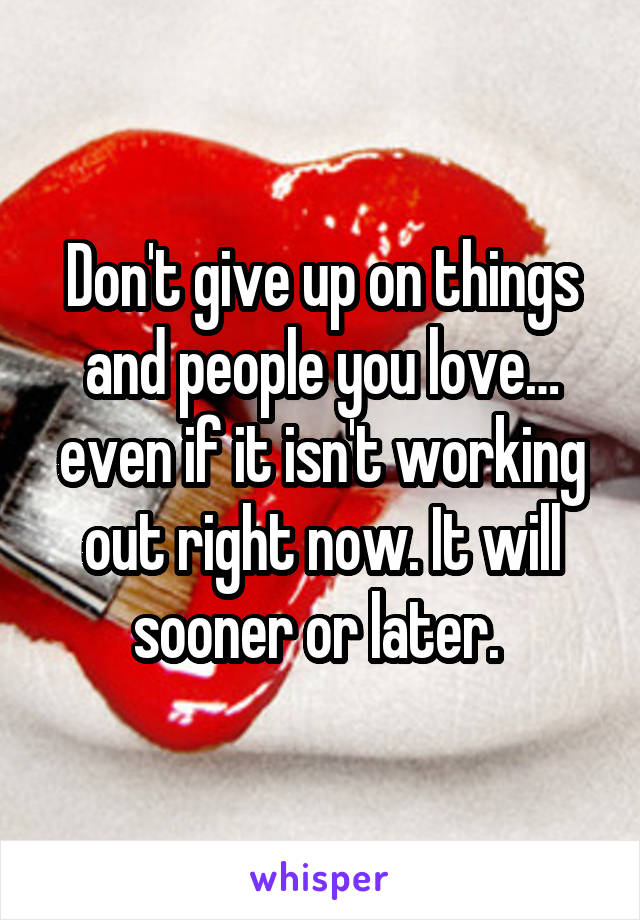 Don't give up on things and people you love… even if it isn't working out right now. It will sooner or later.