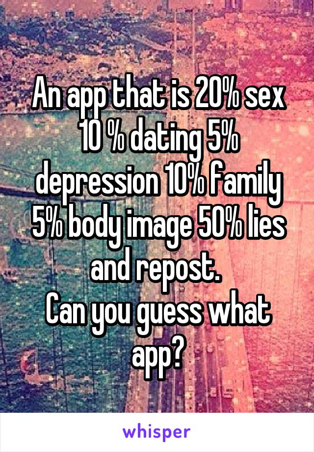 An app that is 20% sex 10 % dating 5% depression 10% family 5% body image 50% lies and repost.  Can you guess what app?
