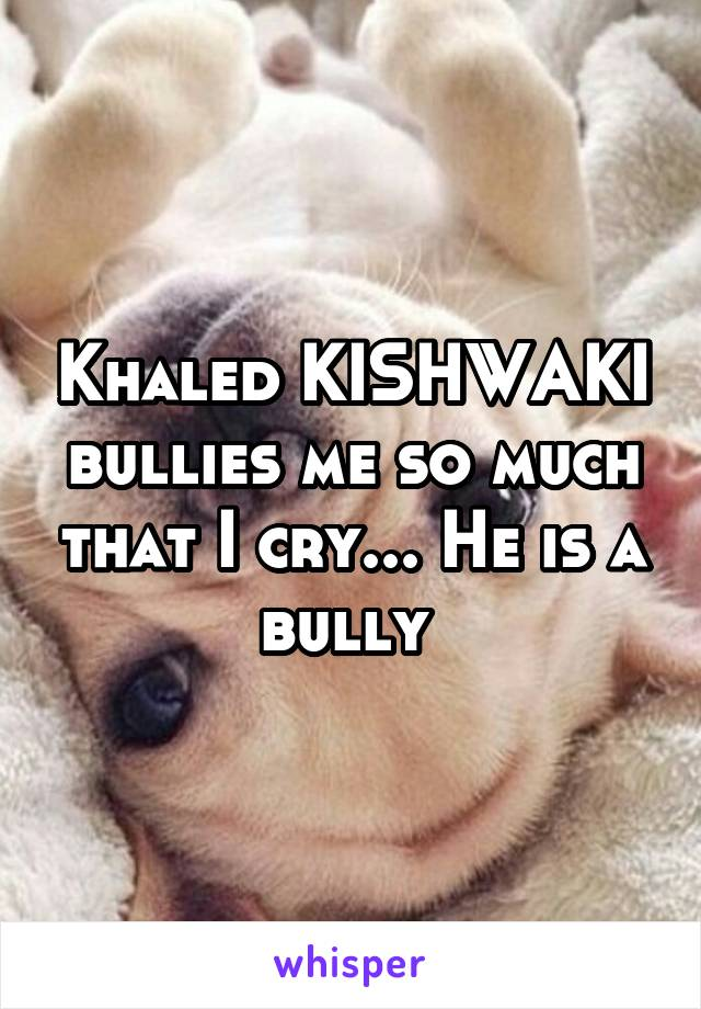Khaled KISHWAKI bullies me so much that I cry... He is a bully