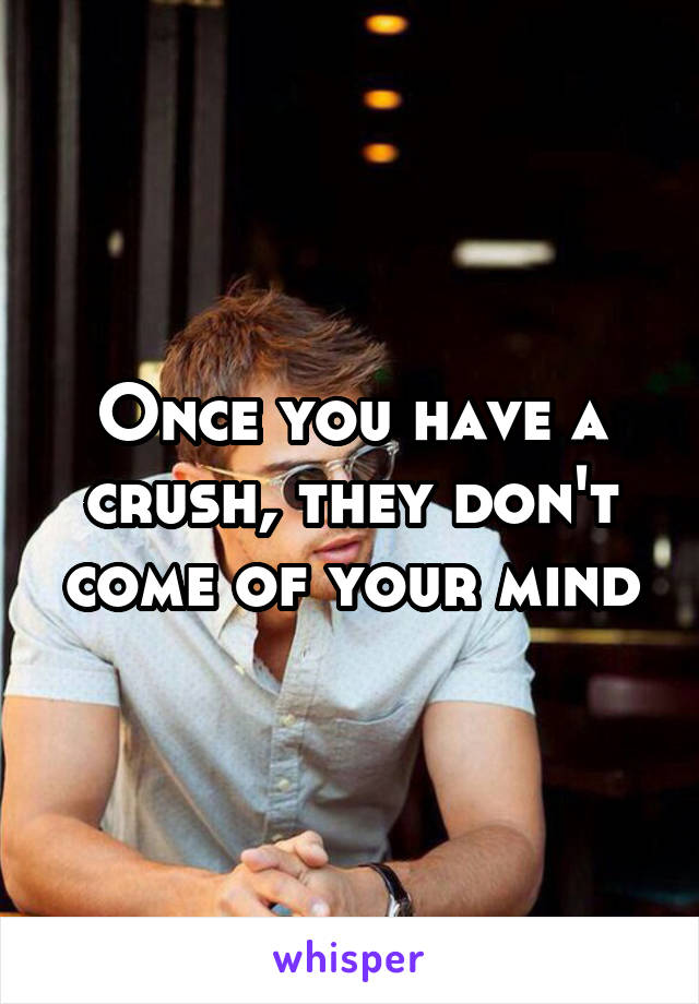 Once you have a crush, they don't come of your mind