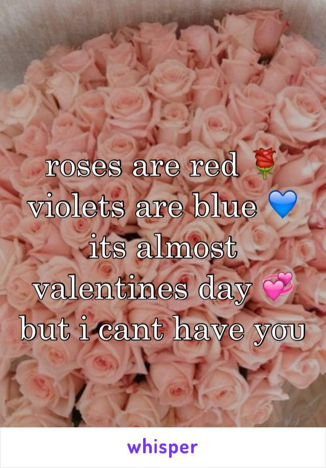 roses are red 🌹 violets are blue 💙 its almost valentines day 💞 but i cant have уσυ
