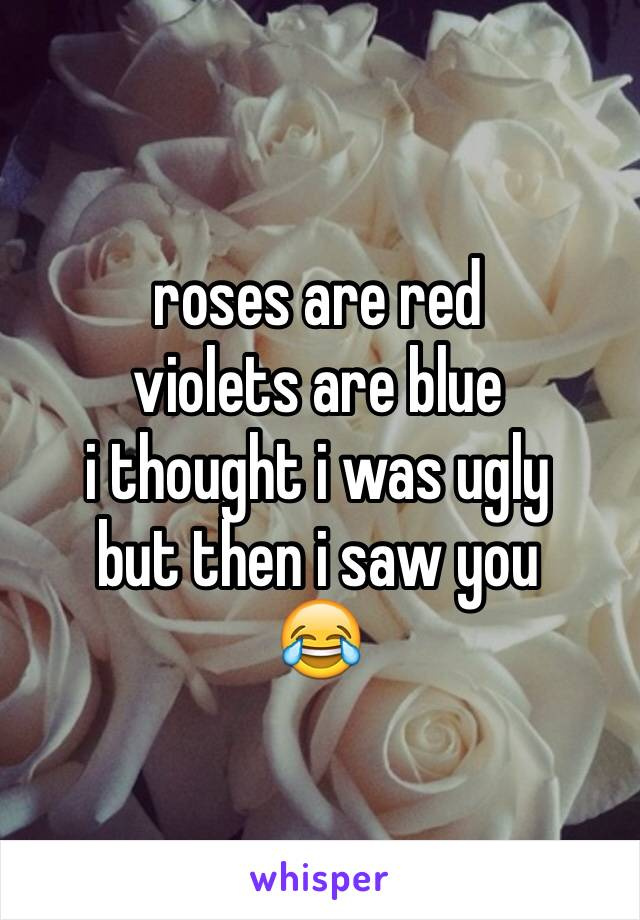 roses are red  violets are blue i thought i was ugly but then i saw you  😂