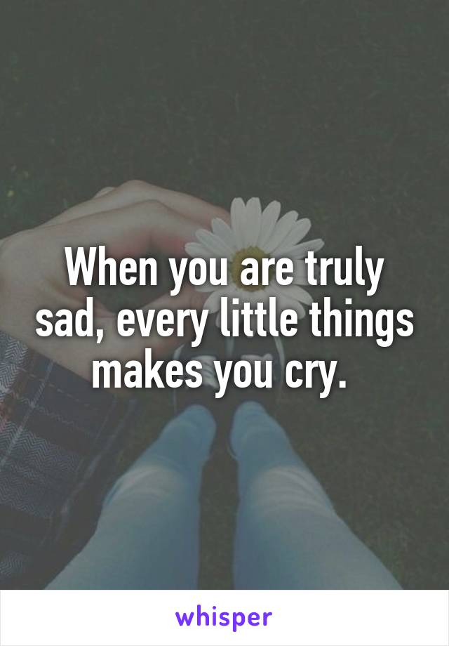 When you are truly sad, every little things makes you cry.