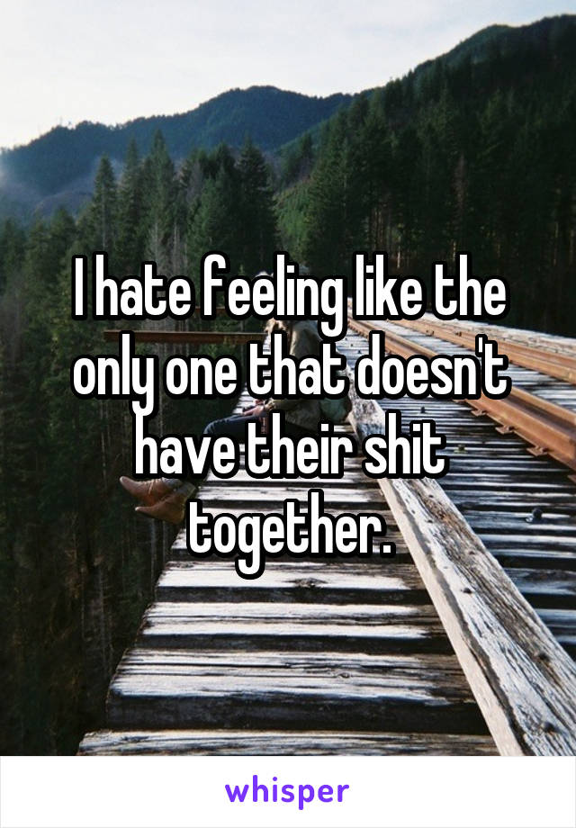 I hate feeling like the only one that doesn't have their shit together.