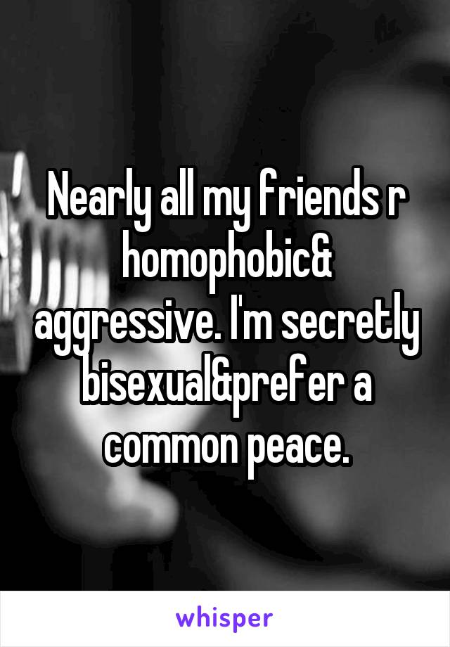 Nearly all my friends r homophobic& aggressive. I'm secretly bisexual&prefer a common peace.