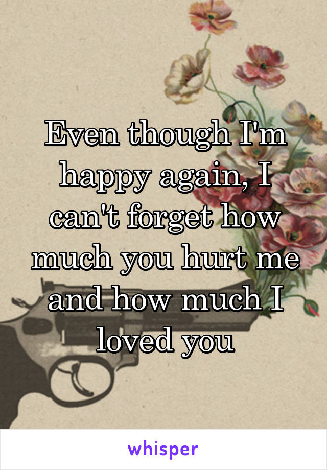 Even though I'm happy again, I can't forget how much you hurt me and how much I loved you