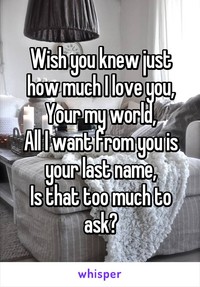 Wish you knew just how much I love you, Your my world, All I want from you is your last name, Is that too much to ask?