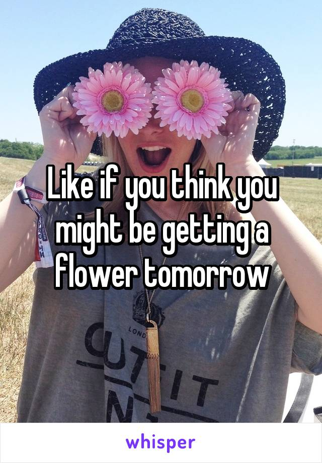 Like if you think you might be getting a flower tomorrow