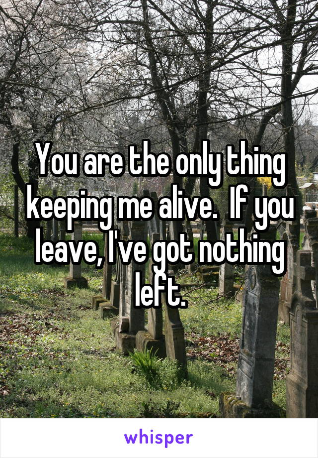 You are the only thing keeping me alive.  If you leave, I've got nothing left.