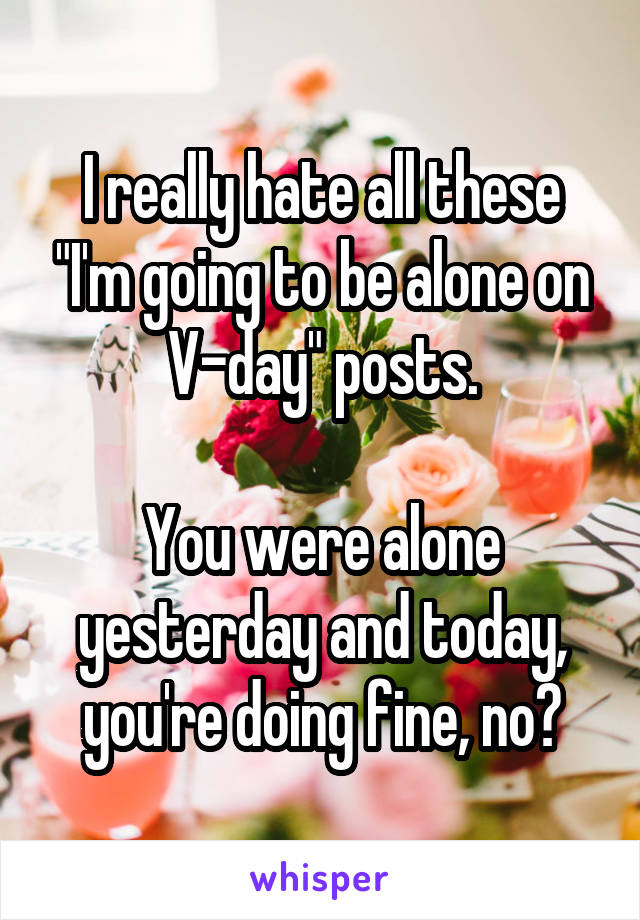 """I really hate all these """"I'm going to be alone on V-day"""" posts.  You were alone yesterday and today, you're doing fine, no?"""