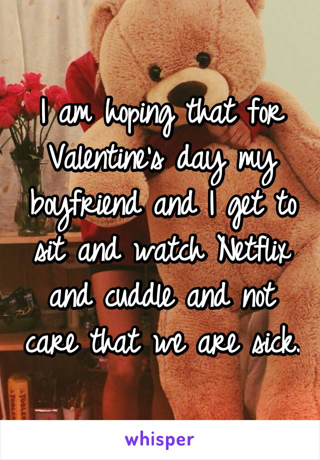 I am hoping that for Valentine's day my boyfriend and I get to sit and watch Netflix and cuddle and not care that we are sick.
