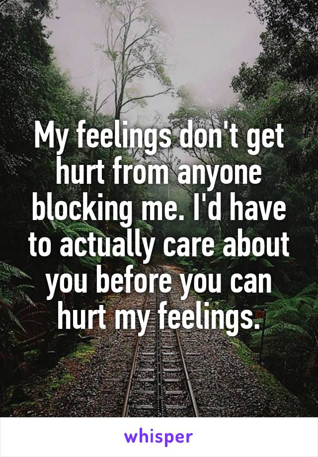 My feelings don't get hurt from anyone blocking me. I'd have to actually care about you before you can hurt my feelings.