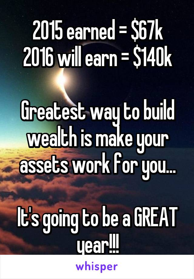 2015 earned = $67k 2016 will earn = $140k  Greatest way to build wealth is make your assets work for you...  It's going to be a GREAT year!!!