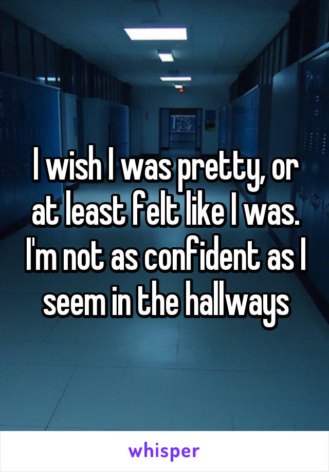I wish I was pretty, or at least felt like I was. I'm not as confident as I seem in the hallways