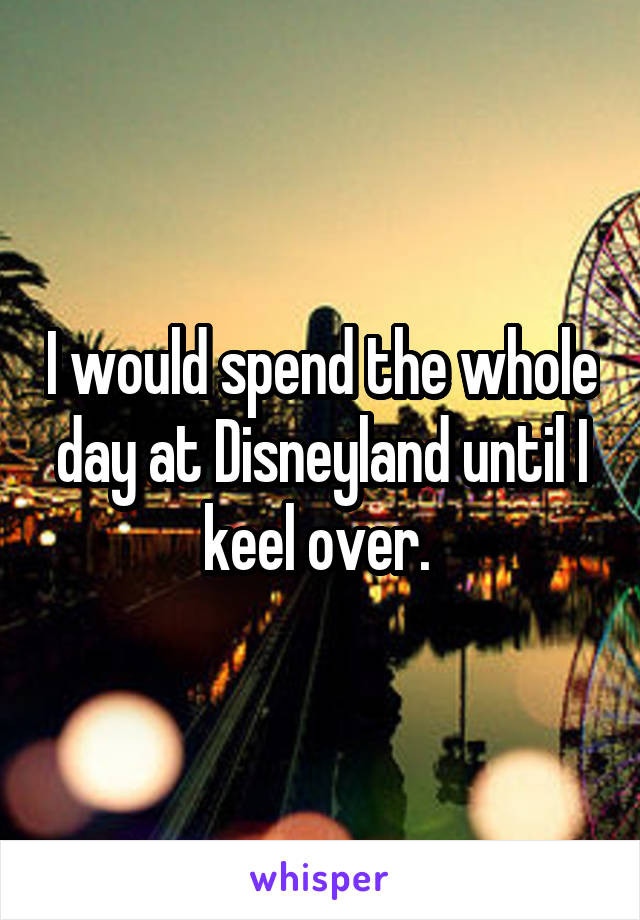 I would spend the whole day at Disneyland until I keel over.