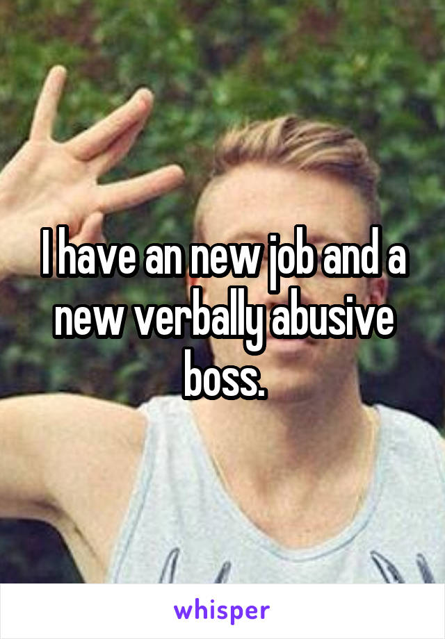I have an new job and a new verbally abusive boss.