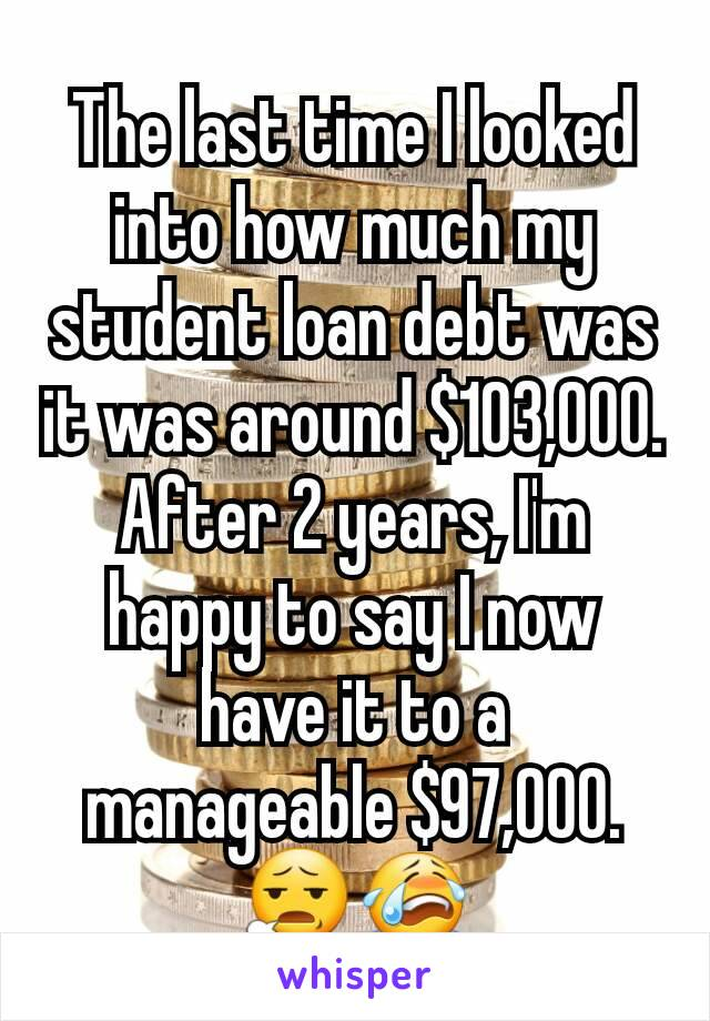 The last time I looked into how much my student loan debt was it was around $103,000. After 2 years, I'm happy to say I now have it to a manageable $97,000. 😧😭