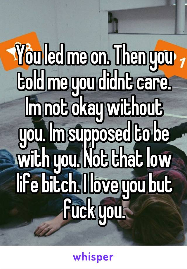 You led me on. Then you told me you didnt care. Im not okay without you. Im supposed to be with you. Not that low life bitch. I love you but fuck you.