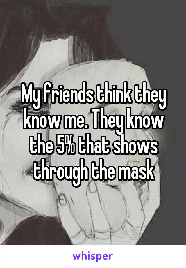 My friends think they know me. They know the 5% that shows through the mask