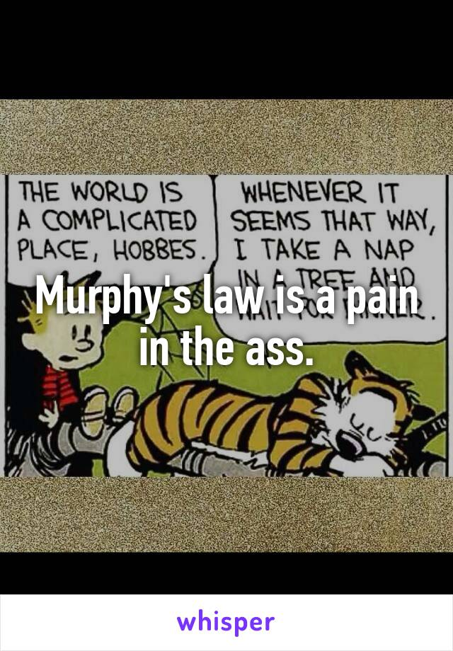 Murphy's law is a pain in the ass.