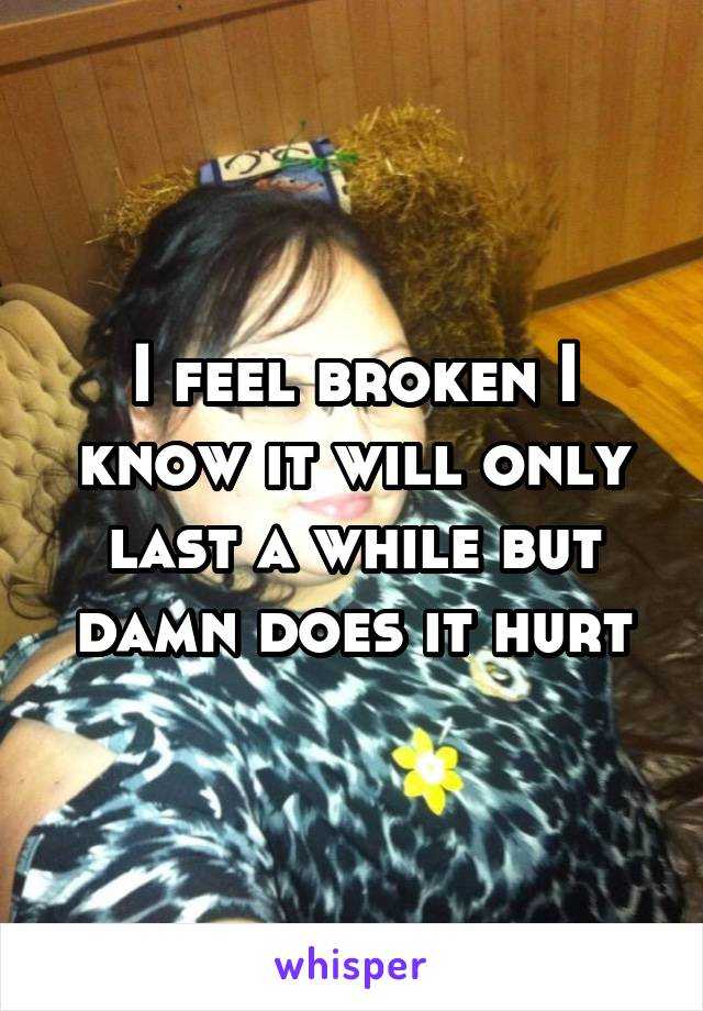 I feel broken I know it will only last a while but damn does it hurt
